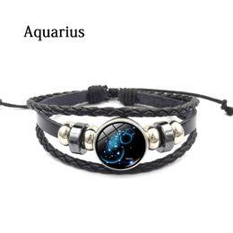amerikanische handgefertigte lederarmbänder Rabatt Europäischen und amerikanischen Stil handgefertigte Perlen Armband Konstellation Zeit Edelstein Armband Leder Armbänder Armreifen