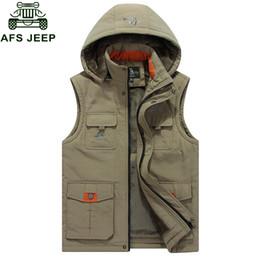 Wholesale Fleece Hooded Vest - 2017 Autumn Winter New Mens Warm Vest Casual Hooded Collar Vest Men Multi-pockets Waistcoat Fleece Mens Warm Sleeveless Jacket