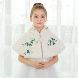 Wholesale Chinese Stockings - 2018 Cony Hair Ivory Flower Girl Dress Accessories With Flowers Warm Girls Capes & Jackets In Stock