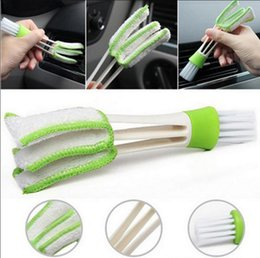 Wholesale Car Dust Brush - 1pc 2 Heads Car Vent Air-Condition Cleaner Houses Cleaning Brush Car Brush Blinds Cleaner Dusting Tool EEA135