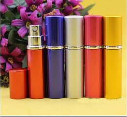 Wholesale Plastic Fragrance Spray Bottles Wholesale - 5ml perfume bottle Aluminium Anodized Compact Perfume Atomizer fragrance glass scent-bottle travel Refillable makeup spray 2500pcs