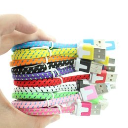 Wholesale Pc Phone Adapter - 1 pcs for Micro USB Braided Fabric V8 Charger Data Sync Nylon Flat Cable Cord Adapter Charging Flat Noodle for cell phone