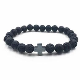 Wholesale Black Stone Cross Bracelet - Natural Lava Stone Strand Bracelet Cross Men Women Beads Rock bracelets Energy Volcanic