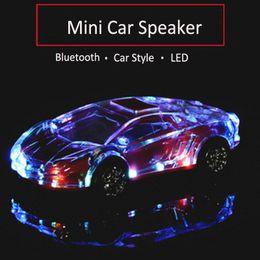 2019 altavoces de coche de audio de cristal Altavoz portátil Bluetooth Wieless Colorido Cristal LED Luz Mini Coche Forma Amplificador Altavoz Soporte TF FM MP3 Reproductor de música MIS184 rebajas altavoces de coche de audio de cristal