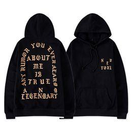Hoodie de yeezus on-line-Kanye west pablo moletom com capuz new york preto dos homens da rua hip hop desgaste da rua yeezus pullover casaco outerwear mqh1113