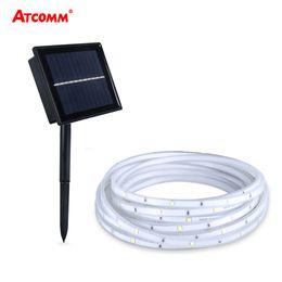 2019 tira led 3528 blanco frio 2835 RGB Solar LED Strip Lámpara de césped 5 metros IP68 Impermeable 100 LEDs 2 modos Jardín al aire libre Iluminación