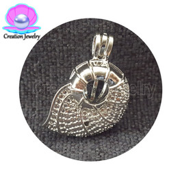 Wholesale snail pendant - 2018 Wholesale Factory Direct DIY snails ice cream Beatles chest Pearl Bead Cage Pendants White Gold Plated Zinc Alloy Jewelry Locket