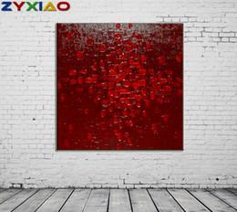2019 marco de fotos digital cuadrado ZYXIAO Tamaño Grande pintura al óleo moderna Arte abstracto cuadrado rojo Decoración para el Hogar en la lona Arte de La Pared Moderna Sin Marco de Impresión del Cartel de la imagen ys0081 marco de fotos digital cuadrado baratos