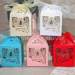 Wholesale Wholesale Tower Boxes - Wholesale- 50pcs Laser Cut Eiffel Tower Wedding Favor Party Boxes Gift Box Candy Boxes