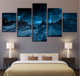 2019 paesaggio paesaggi d'arte montagne HD Prints Poster Wall Art Quadro Tela Dipinti 5 Pezzi Snow Mountains Moonlight Paesaggio Immagini per Living Room Decor sconti paesaggio paesaggi d'arte montagne