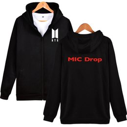 Wholesale Boys Zip Hoodies - 2017 Bangtan Boys Zipper Kpop Sweatshirt MIC Drop BTS Hoodies Sweatshirt Zip-Up Female Fashion Casual Winter Clothes 4XL XXS