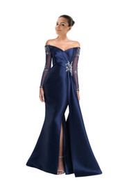 long sleeve prom dresses slit front Promo Codes - Long Sleeves Off shoulder Evening Dresses Formal Gowns Elegant Designer Illusion Crystal Beaded Cheap Long Slits Prom pageant Dress Gowns