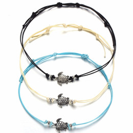 Wholesale Girls Lace Anklets - Vintage Tortoise Anklets for Women Fashion Black White Wax String Lacing Foot Jewelry Minimalist Turtle Ankle Bracelet