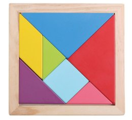 Juego de rompecabezas geométrico de madera Juego de tangram Color de forma cognitiva Niños Niños Inteligencia Juguetes - Tamaño grande 18.5 * 18.5cm desde fabricantes