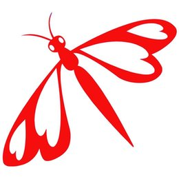 Wholesale Browning Heart Decal - HotMeiNi Wholesale 20pcs lot 8 Colors Dragonfly With Hearts For Truck Window Bumper Auto SUV Door Kayak Vinyl Decal