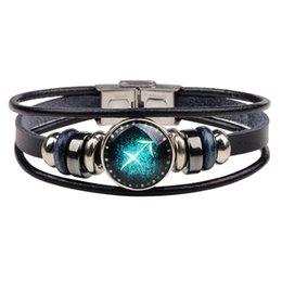 Venta al por mayor de acero inoxidable broche pulsera del encanto de la joyería de bricolaje Pulsera de cuero del zodiaco modaZI-149 desde fabricantes