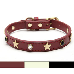 Wholesale Dog Collar Leather Diamond - Free shipping Real Leather Adjustable necklace Studs Pet Dog Cat Collars Star diamond Extra large for Large Dog