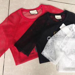 Wholesale White Mesh Shirt - Sexy Mesh Tops Women Girl Summer Hollow out Short Sleeve Top T Shirt Harajuku Black White red t-Shirts
