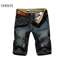 джинсовые брюки Скидка 2017 мужчины короткие джинсы мужская мода шорты мужчины большая распродажа летняя одежда модный бренд мужские короткие брюки и мужские джинсовые шорты 38