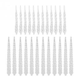 24 STÜCKE Acryl Hängende Eiszapfen Drop Ornament für Weihnachtsbaum Pendent Hochzeit Dekoration Diamant Pulver von Fabrikanten