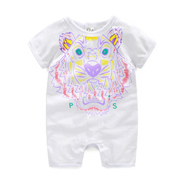 Wholesale Unisex Overalls - Retail Summerborn Baby Boy Romper Short Sleeve Jumpsuit Cartoon Printed Baby Rompers Overalls Baby Clothes 3 Colors