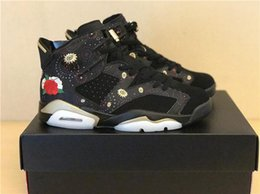 Wholesale Chinese Martial Arts - Free Shipping New Arrival Retro 6 CNY 6s Chinese New Year Men Basketball Shoes Peony Fireworks Embroidery Sneakers Metallic Gold-Multi Noir
