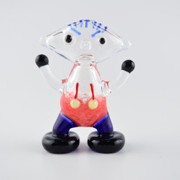 Wholesale smoking boy - 3.5'' inch Novelty Glass Pipes Boy Shape Spoons Pipes Mixed-Color Oil Burner for Smoking Dry Herb Hand Pipe Portable Tobacco Pipe Thickness