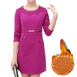 Vestido de túnica de veludo on-line-Vestido de inverno Quente para As Mulheres 2018 Lace Bordado De Veludo Ocasional Fino Senhoras Vestidos Túnicas Plus Size L ~ 4XXXXL Elegante Vestidos