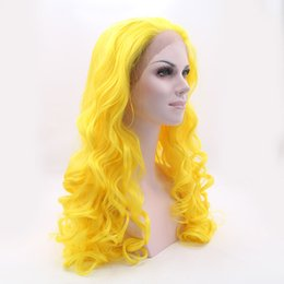 Wholesale Bright Heat - The Avengers costume pastel wig Bright yellow heat resistant synthetic lace front orange wig cheap cosplay wigs for womens loose cury wavy