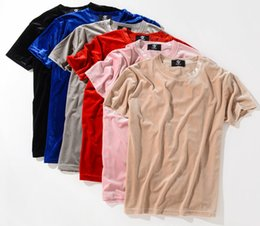 Wholesale Mens Fashion Tees - New Fashion Streetwear Men Extended T Shirt Velour Mens Hip Hop Longline Justin Bieber Shirts Golden Side Velvet Curved Hem Tee