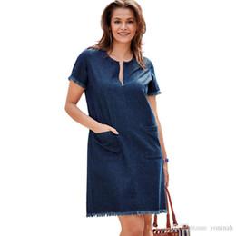 d35c511cabf2109 Оптовая бесплатная доставка Женщины Повседневная джинсовая лето с коротким  рукавом карманы мини мода уличной кисточкой платье плюс размер 3XL