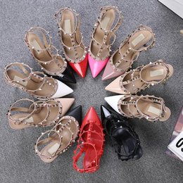 Wholesale Brown Ankle Strap Pumps - New Mixed-colors Rivets Studded Women Sandals High Heels Narrow Band Patch Ankle Strapy Buckle pointed Toe Party Shoes Woman.