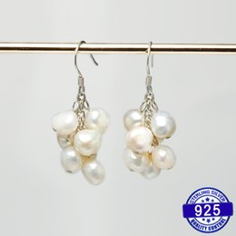2019 серьги из винограда DAIMI Real Pearl Earrings Grape Design Hanging 925 Silver Dangler Earrings Gift For Mom дешево серьги из винограда