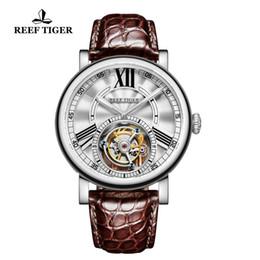 2018 Reef Tiger/RT Brand Luxury Men Watch Tourbllon Automatic Alligator Leather Strap Sports Waterproof Watches zegarek damski cheap tiger watch от Поставщики тигровые часы