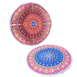 Wholesale Round Floral Tablecloth - Summer Retro Floral Print Round Beach Towel Large Yoga Mat Indian Mandala Throw Bath Towels For Adult Tablecloth Picnic Blanket