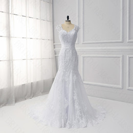 Wholesale Modern Chinese Wedding Dress - Mermaid lace Wedding Dresses Real picture white bridal gown applique sequins beaded Chinese plus size wedding dress