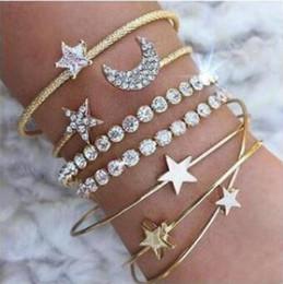 Четыре комплекта Европы и США новая мода большой простой алмаз кристалл звезды луна открытие браслет четыре комплекта браслет от