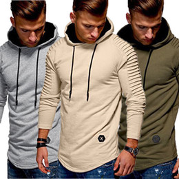 solid men t shirt full sleeve Promo Codes - Men Autumn Hoodie Sports Tops Long Sleeve Solid Hoodie Sweatshirt T-Shirts 2018 New Pleated Workout Joggers Running Warm T-Shirt