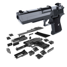 Wholesale toys plastics - DIY Building Blocks Gun Toy Desert Eagle Assembly Toy Puzzle Brain Game Model Can Fire Bullets(Mung Bean) with Instruction Book