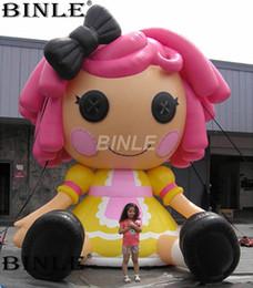 2019 caráter inflatables Personagem 5mH personalizado adorável personagens de desenhos animados infláveis mascote menina inflável com cabelo vermelho para publicidade caráter inflatables barato