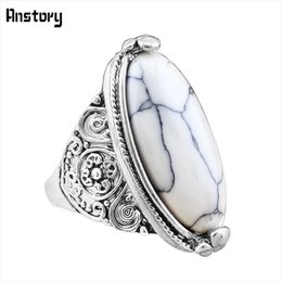 Wholesale Fashion Oval Stone Ring - Wholesale- Flower Tail Oval Natural Stone Bead Rings Vintage Look Antique Silver Plated Personality 5 Colors Fashion Jewelry TR362