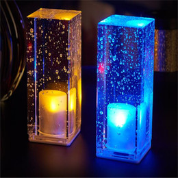 Wholesale Night Light Shop - led bar table lamp charging crystal table lamp night light colorful romantic coffee shop KTV restaurant bar lamp