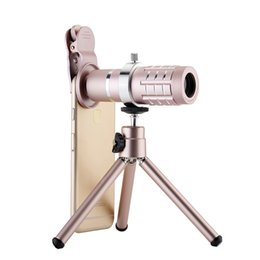 Wholesale Zoom Lens - Universal Mobile Phone Lens 12X 18X Zoom Telescope lens With Stand For iPhone X 7 Plus Samsung S8