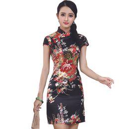 Black Chinese Traditional Dress Women Short Mini Qipao Fashion Silk Rayon Cheongsam  Flower Mujer Vestido S M L XL XXL 011505 d8066a7e1813