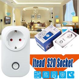 Smart home packages on-line-Itead Sonoff S20 Interruptor Soquete Inteligente Wifi EUA Plug EU Tomada de Controle Remoto Tomada Interruptor de Sincronismo Para Smart Home Automation Com pacote