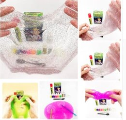 Wholesale Blow Bubbles - Make Your Own slime DIY Play For Kids Science Game plasticine toys Kids Play DIY Blowing Bubbles Crystal Mud Educational Tool KKA4492