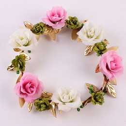 Wholesale Flower Wreath Tiara Wholesale - 1PC Handmade Girls Lovely Cute Flowers Garland Crown Headwear Wreath Wedding Girl Headband Hairband Tiara