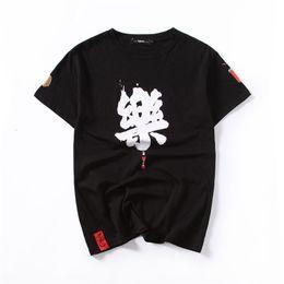 maglietta di hip hop cinese Sconti T-shirt nera alla moda da uomo con maniche corte T-shirt con stampa kanji cinese Camicie hip-hop Maglietta moda estiva