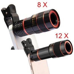 Wholesale External Lens - eClouds FOR iPhone for Sumsung Huawei Universal Clip 8X 12X Zoom Mobile Phone Telescope Lens Telephoto External Smartphone Camera Lens