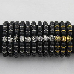 Wholesale Turtles Charms - Mens Bracelets Luxury Jewelry Women matt stone bead bracelet elephant leopard head lion head owl turtle Lava Charm Bracelets